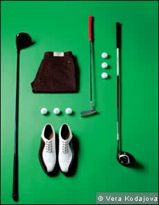 golf shoes, golf balls and golf tee