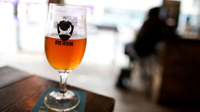 A glass of draught pale ale sits on a table at Brewdog Plc's bar in Shoreditch, London, U.K., on Tuesday, Sept. 1, 2015