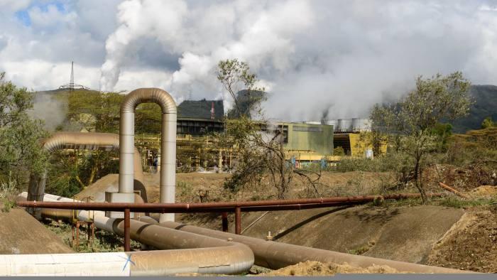 Geothermal power station at Olkaria, Hells Gate National Park, Naivasha, Great Rift Valley, Kenya. (Photo by: Education Images/UIG via Getty Images)