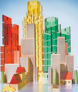 Cityscape, photographed by Louisa Parry, made of PlayPlax and Muji's City in a Bag