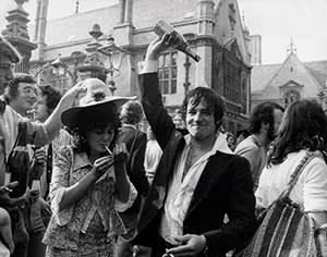 Oxford students celebrating the end of exams in 1976