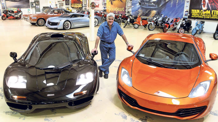 US talk-show host Jay Leno in his super-garage in Los Angeles, which houses more than 200 cars and motorbikes