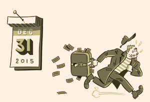 Illustration by Jason Ford of a man with a suitcase full of money rushing to beat the money flush