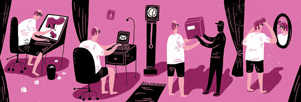 illustration of a man on his PC ordering online for a wig