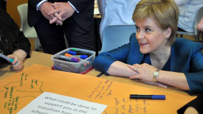 First Minister Nicola Sturgeon meets sixth-year pupils at Craigroyston Community High School in Edinburgh, ahead of the Scottish Government education summit on delivering excellence in education.