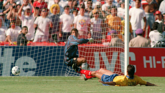 Andrés Escobar scores an own goal against the US in 1994