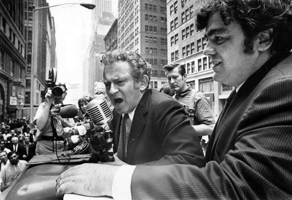 Norman Mailer campaigns for mayor of New York in the garment district with Jimmy Breslin (right), June 1969