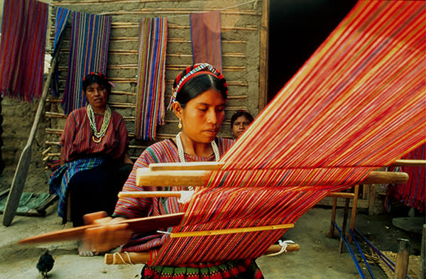 A woman weaving Mayan cloth in San Lucas