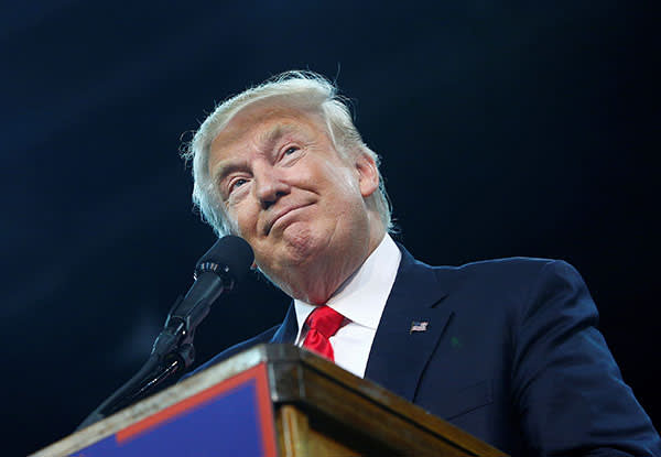Donald Trump at a campaign rally in Erie, Pennsylvania, in August