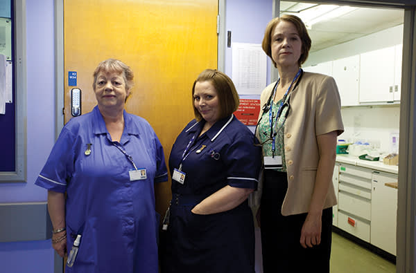 Scanlan (centre) with 'Getting On' co-stars and fellow writers Vicki Pepperdine (right) and Jo Brand