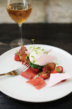 At Dessance: strawberries and pickled black radishes with frozen parsley and fromage blanc