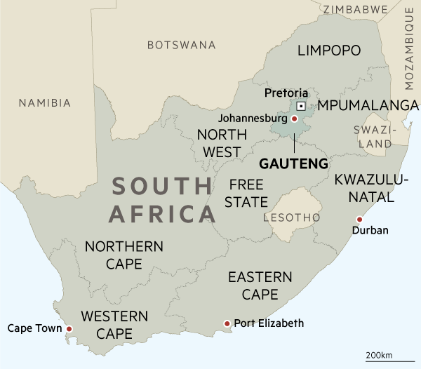 Uber drivers in South Africa's Gauteng province air