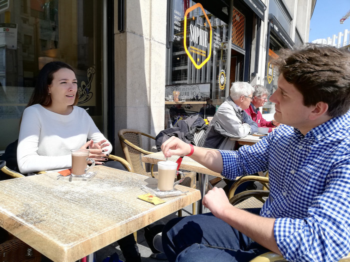 Europe Talks project: 'I do have an emotional connection with the UK,' says Anna Furlan, a German student in Brussels for #EuropeTalks, who recalls going to Cambridge as part of an exchange program. Furlan and David Black, a 25-year-old Scottish man, discuss Brexit and UK's relationship with Europe. pic: Alice Kantor/FT