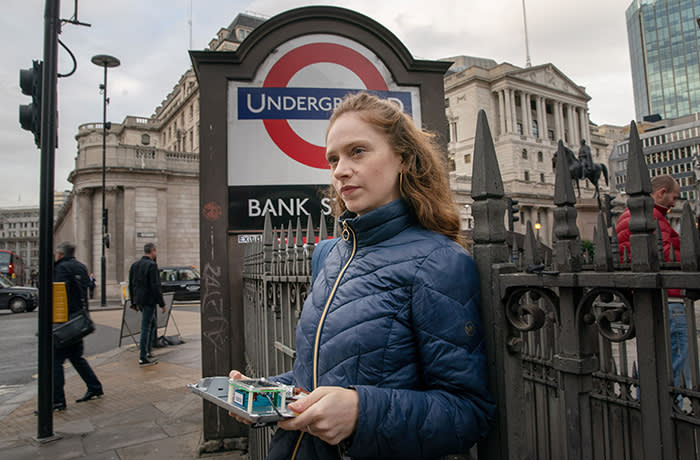 Camilla Hodgson, outside Bank tube Station for a photo tube pollution piece - Big read. 4/11/19