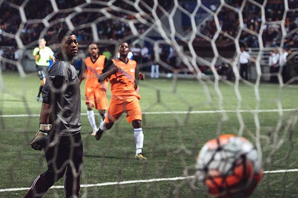 Chagos football team concede a goal at the World Cup of Unrecognized States 2016