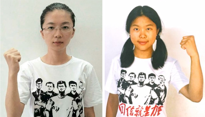 Student activists, from left, Shen Mengyu and Yue Xin, both of whom have been detained since they were photographed