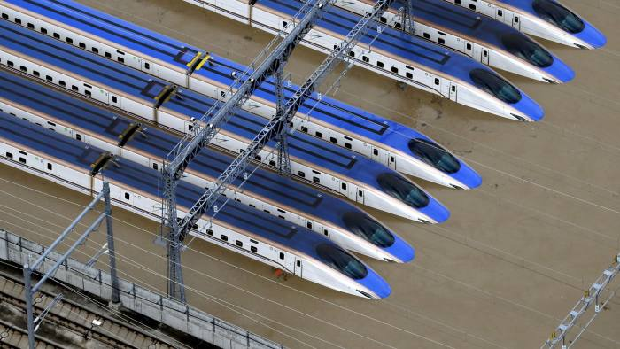 A Shinkansen bullet train rail yard is seen flooded due to heavy rains caused by Typhoon Hagibis in Nagano, central Japan, October 13, 2019, in this photo taken by Kyodo. Mandatory credit Kyodo/via REUTERS ATTENTION EDITORS - THIS IMAGE WAS PROVIDED BY A THIRD PARTY. MANDATORY CREDIT. JAPAN OUT. TPX IMAGES OF THE DAY