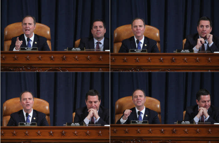 Mandatory Credit: Photo by JONATHAN ERNST/POOL/EPA-EFE/Shutterstock (10481707m) A photo combo shows House Intelligence Committee Chairman Adam Schiff (L) and House Intelligence Committee Ranking Member Devin Nunes (R) asking questions as US Deputy Assistant Secretary of Defense for Russian, Ukrainian, and Eurasian Affairs Laura Cooper and Under Secretary of State for Political Affairs David Hale testify during a House Permanent Select Committee on Intelligence public hearing on the impeachment inquiry into US President Donald J. Trump, on Capitol Hill in Washington, DC, USA, 20 November 2019. The impeachment inquiry is being led by three congressional committees and was launched following a whistleblower's complaint that alleges US President Donald J. Trump requested help from the President of Ukraine to investigate a political rival, Joe Biden, and his son Hunter Biden. House Permanent Select Committee on Intelligence public hearing on the impeachment inquiry into US President Donald J. Trump, Washington, USA - 20 Nov 2019