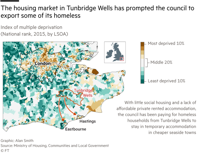 Map of deprivation levels in South East England showing Tunbridge Wells (not deprived) and areas that the council export some homeless people to (more deprived)