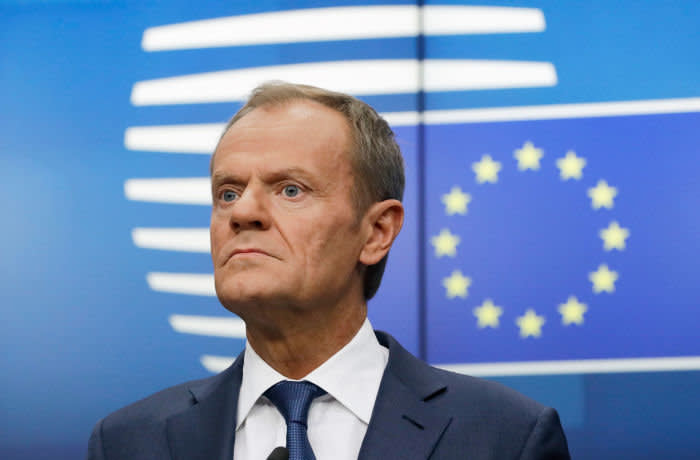 Mandatory Credit: Photo by OLIVIER HOSLET/EPA-EFE/Shutterstock (10449333bl) President of the European Council, Donald Tusk gives a press conference at the end of a summit in Brussels, Belgium, 18 October 2019. This news conference is supposed to be the last one in a summit of both Presidents during their mandate. EU summit, Brussels, Belgium - 18 Oct 2019