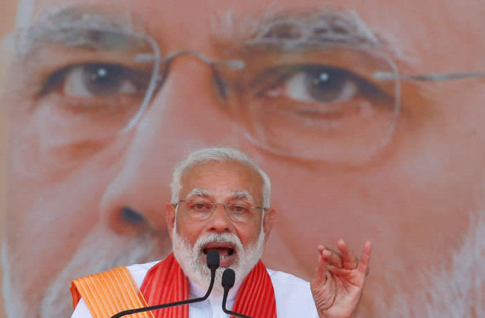 India's Prime Minister Narendra Modi addresses his supporters during an election campaign rally in Patan, Gujarat, India, April 21, 2019. REUTERS/Amit Dave - RC1562CF80F0
