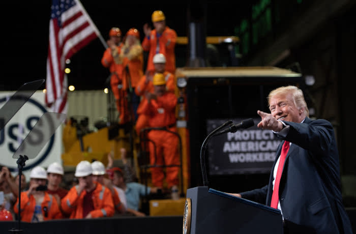 US President Donald Trump speaks about trade at US Steel's Granite City Works steel mill in Granite City, Illinois July 26, 2018. (Photo by SAUL LOEB / AFP) (Photo credit should read SAUL LOEB/AFP via Getty Images)