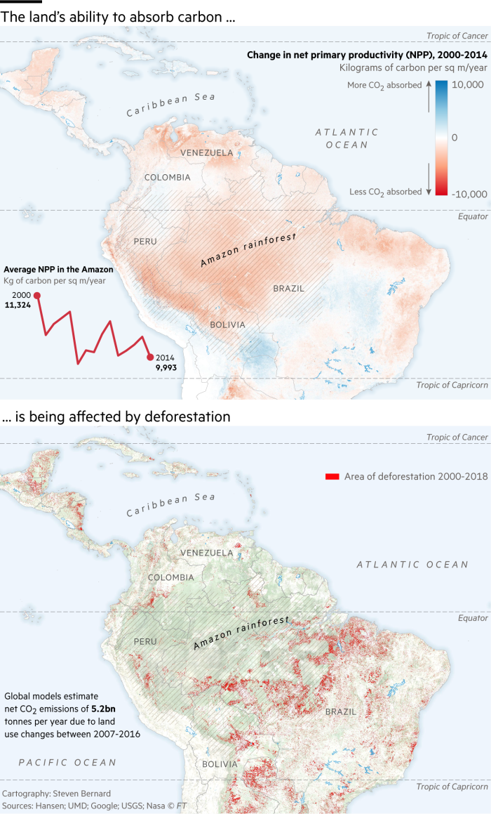 Maps showing deforestation in the Amazon and the ability of the land to absorb carbon. Over 200,000 square kilometres of rainforest has been lost since 2000