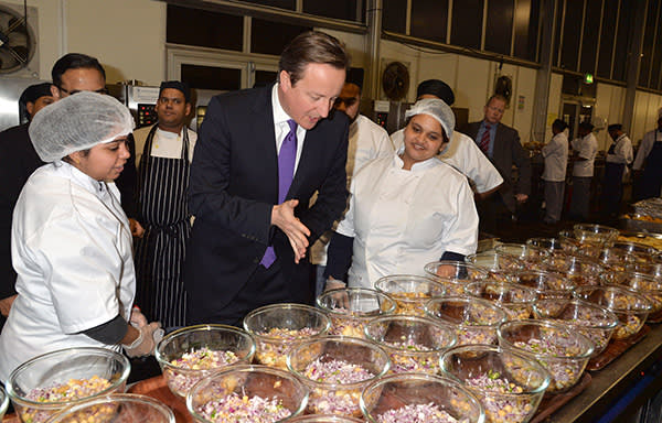 Prime Minister David Cameron meeting chefs at the British Curry Awards in London, November 2013