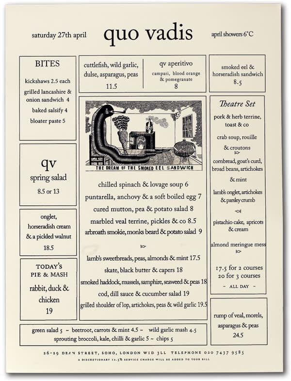 Quo Vadis menu