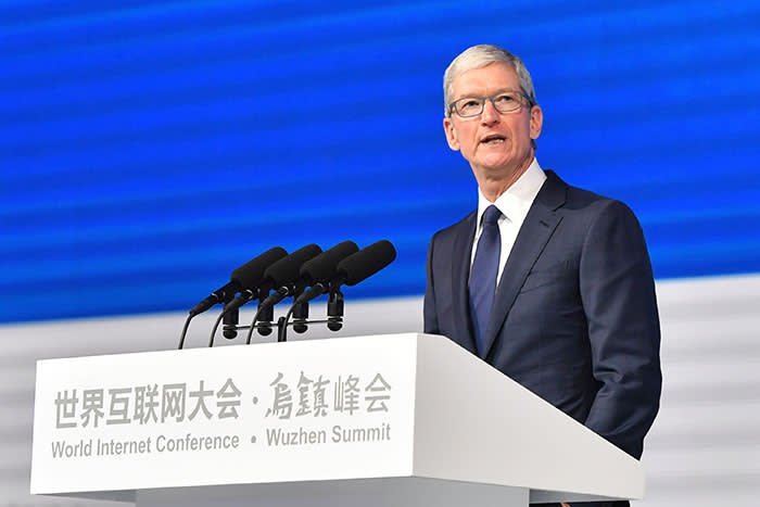 Tim Cook, CEO of Apple, at China's World Internet Conference in  2017. In recent years, foreign attendance has dropped off as the US-China tech war intensified and executives worried about being too aligned with Beijing