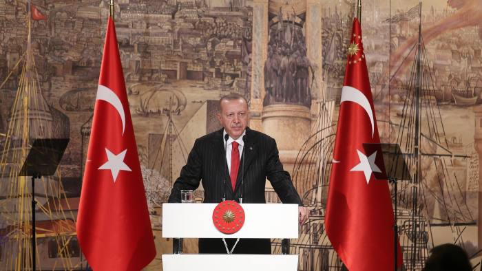 """A handout photo released by the Turkish President's press office shows Turkish President Tayyip Erdogan talking to media in Istanbul on October 18, 2019. (Photo by STRINGER / TURKISH PRESIDENTIAL PRESS OFFICE / AFP) / RESTRICTED TO EDITORIAL USE - MANDATORY CREDIT """"AFP/TURKISH PRESIDENTIAL PRESS OFFICE """" - NO MARKETING NO ADVERTISING CAMPAIGNS - DISTRIBUTED AS A SERVICE TO CLIENTS (Photo by STRINGER/TURKISH PRESIDENTIAL PRESS OFFIC/AFP via Getty Images)"""