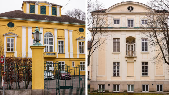 Composite - Vienna - Yellow Building - The Maria Theresien Schlössel (now the site of the Lauder business school) in Döbling and Cream coloured buildings - Rosenhügel which is a big public hospital complex (we specifically wanted the old buildings in the middle, as shown in the old postcard) in Hietzing