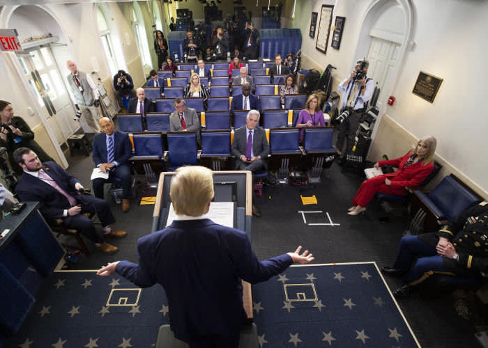 Donald Trump speaks about the coronavirus at a White House briefing on April 1, as the number of US cases topped 206,000