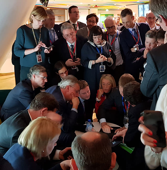 The moment a scrum of diplomats, 'sherpas' and officials started work on a compromise text regarding a Brexit extension, captured in March by Dimiter Tzantchev, Bulgaria's EU ambassador