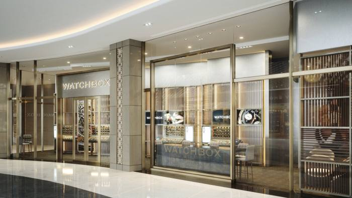 Watchbox, A rendering of the exterior of the flagship boutique that will open in Dubai's Financial District later this year.