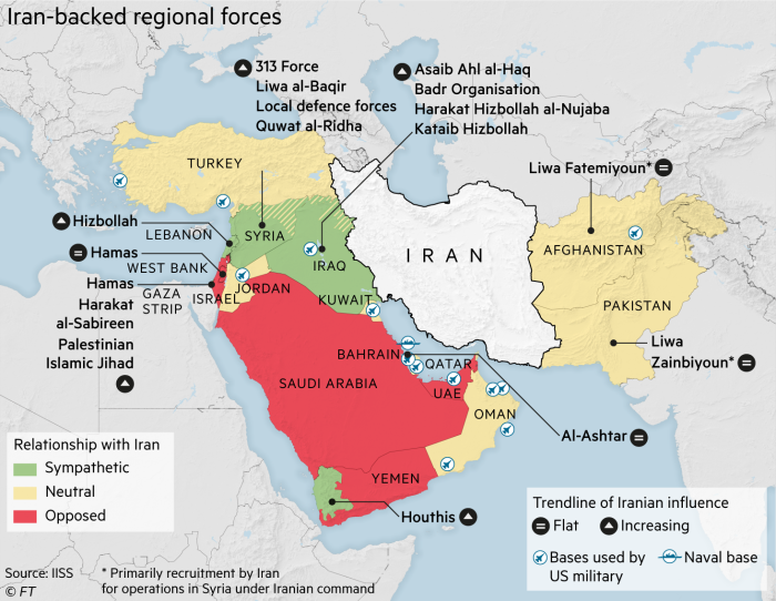 Map showing Iran-backed regional forces in the Middle East