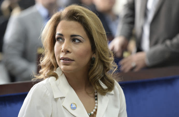 FILE - In this Sunday, Jan 17, 2016 file photo, Princess Haya bint al-Hussein, the wife of the Prime Minister of the UAE and Ruler of Dubai, attends a press conference in Dubai, United Arab Emirates. A British court has found that the ruler of Dubai conducted a campaign of fear and intimidation against his estranged wife and ordered the abduction of two of his daughters, documents unsealed Thursday, March 5, 2020 show. (AP Photo/Martin Dokoupil, file)