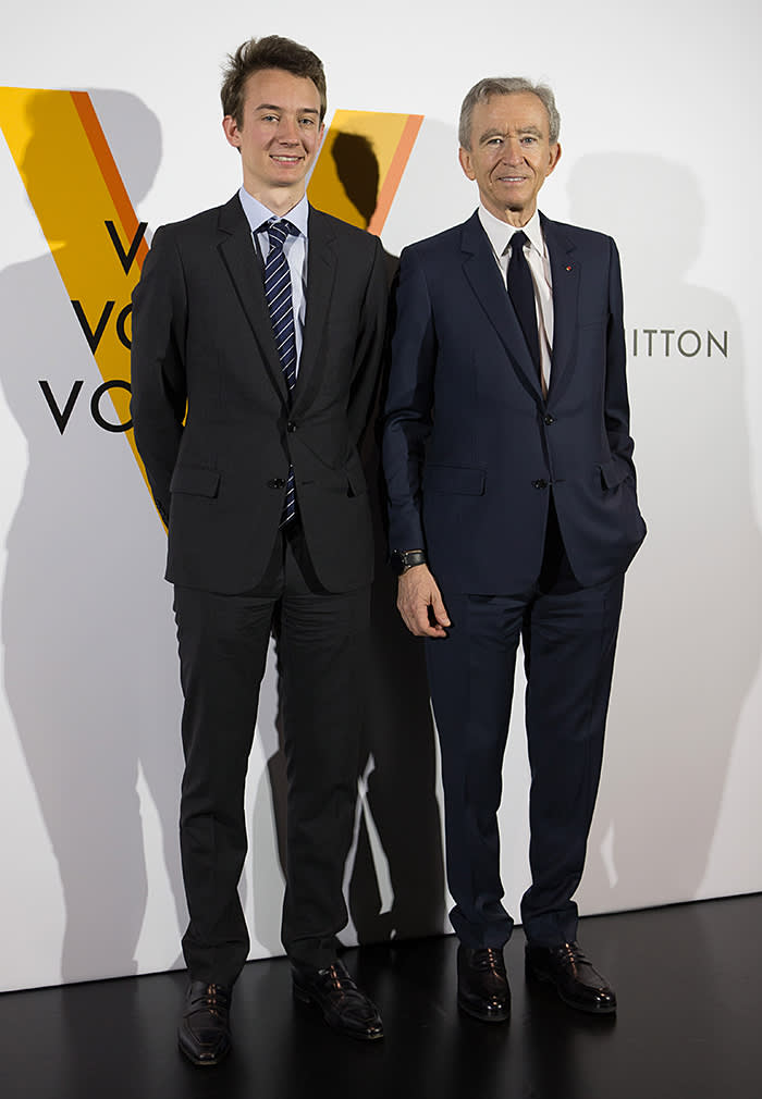 TOKYO, JAPAN - APRIL 21: Frédéric Arnault (L) and LVMH chairman and CEO Bernard Arnault (R) attend the Louis Vuitton exhibition