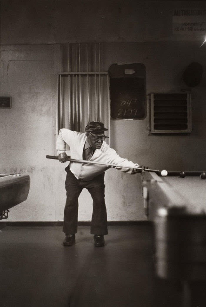 Ming Smith Single Pool Player, Pittsburg, PA, (August Wilson Series), 1991 Edition 2 of 2 gelatin silver print 20 x 16 in. (50.8 x 40.6 cm) Courtesy of the artist and Jenkins Johnson Gallery