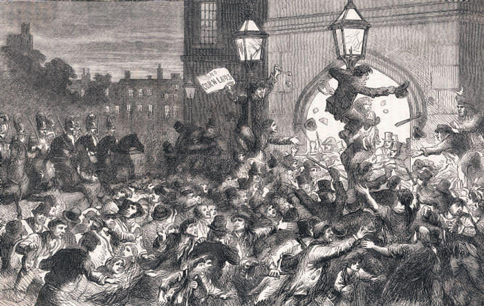 Woodcut illustration of the Bread Riot at the entrance to the House of Commons, sparked by the infamous Corn Laws, passed in Parliament in 1815 that kept the price of bread artificially high to benefit the land interests and wealthy farmers.