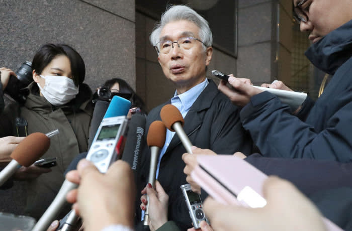 Editorial use only. JAPAN OUT / NO SALES NO ARCHIVES Mandatory Credit: Photo by JIJI/EPA-EFE/Shutterstock (10515768a) Junichiro Hironaka (C), main lawyer for former Nissan Motor Co. and Renault SA chairman Carlos Ghosn, speaks to reporters in Tokyo, Japan, 31 December 2019. Ghosn, who was on bail and under surveillance in Tokyo awaiting trial on financial misconduct charges, fled to Lebanon on 30 December 2019. Former Nissan Motor chief Carlos Ghosn flees Japan to Lebanon, Tokyo - 31 Dec 2019