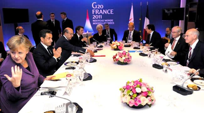 Straight talking: France's Nicolas Sarkozy tore into Greek prime minister George Papandreou's plan to hold a referundum