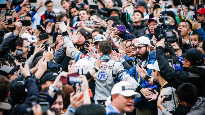 HONG KONG, HONG KONG - MARCH 10: Edoardo Mortara (CHE) Venturi Formula E makes his way through the crowd towards the podium on March 10, 2019 in Hong Kong, Hong Kong. (Photo by FIA ABB Formula E/Handout/Getty Images)