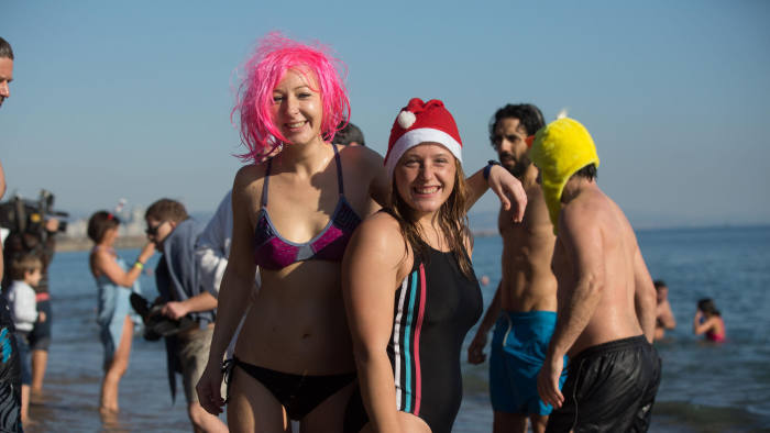 HFHCRW Barcelona, Spain. 01st Jan, 2017. New Year?s Day Swim Barcelona 2016. The first swim of the year is called 'Primer Bany de l'Any!' and takes place at the Sant Sebastia beach in Barceloneta.  © On Sight Photographic/Alamy Live News