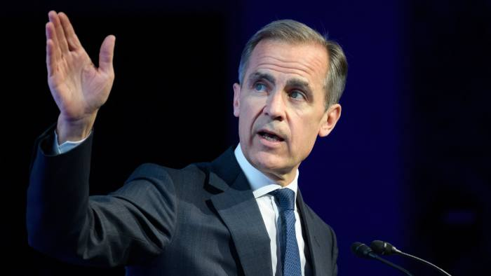 Mark Carney, governor of the Bank of England (BOE), gestures as he speaks during the Institute of International Finance (IIF) Spring Membership Meeting in Tokyo, Japan, on Thursday, June 6, 2019. Bank of Japan Governor Haruhiko Kuroda says the most important role of financial regulation and supervision is to address market failures. Photographer: Akio Kon/Bloomberg
