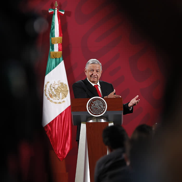 Mandatory Credit: Photo by JOSE MENDEZ/EPA-EFE/Shutterstock (10574079b) President of Mexico Andres Manuel Lopez Obrador participates in his morning press conference at the National Palace in Mexico City, Mexico, 04 March 2020. Lopez Obrador rectified and announced that the start date for the sale of tickets for the so-called presidential plane raffle will be postponed so that it does not coincide with the national women's strike called for 09 March. Mexico blocks more than 280 million dollars in criminal group accounts, Mexico City - 04 Mar 2020