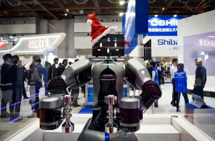 RIDRS Humanoid type Dual-Arm Robot of Toshiba machine at the International Robot Exhibition in Tokyo, Japan, on Wednesday, Dec. 5, 2019. The expo runs through Dec. 21. Photographer: Noriko Hayashi/Bloomberg