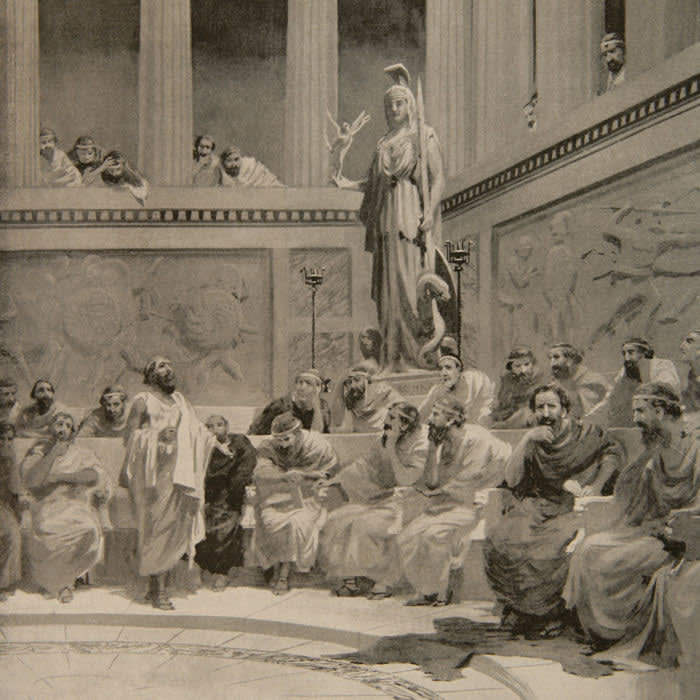 Cleon of Athens (d. 422 BC). Athenian politician. First representative of the commercial class in Athenian politics. The debate on the question of the revolt of Mytilene, 427 BC. Engraving in The History of Nations by William Spencer Bagdatopoulos (1888–1965). Signed W.S. Bylityilis.