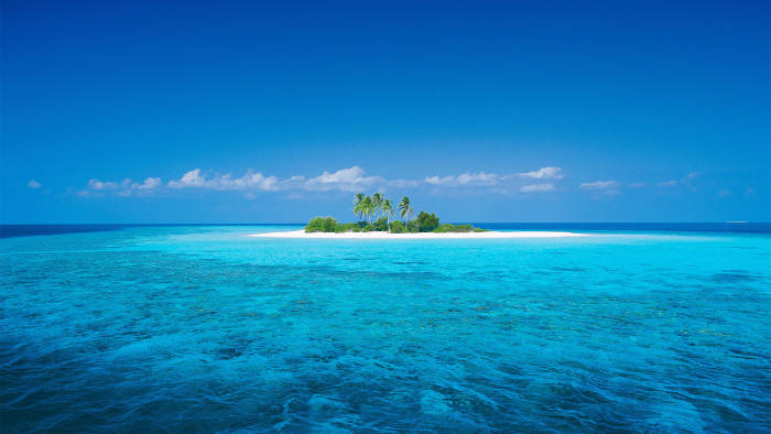 An undeveloped island in the Maldives