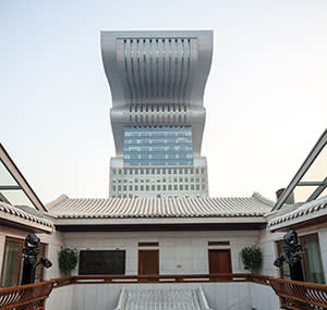 Chou's courtyard area and the Pangu tower